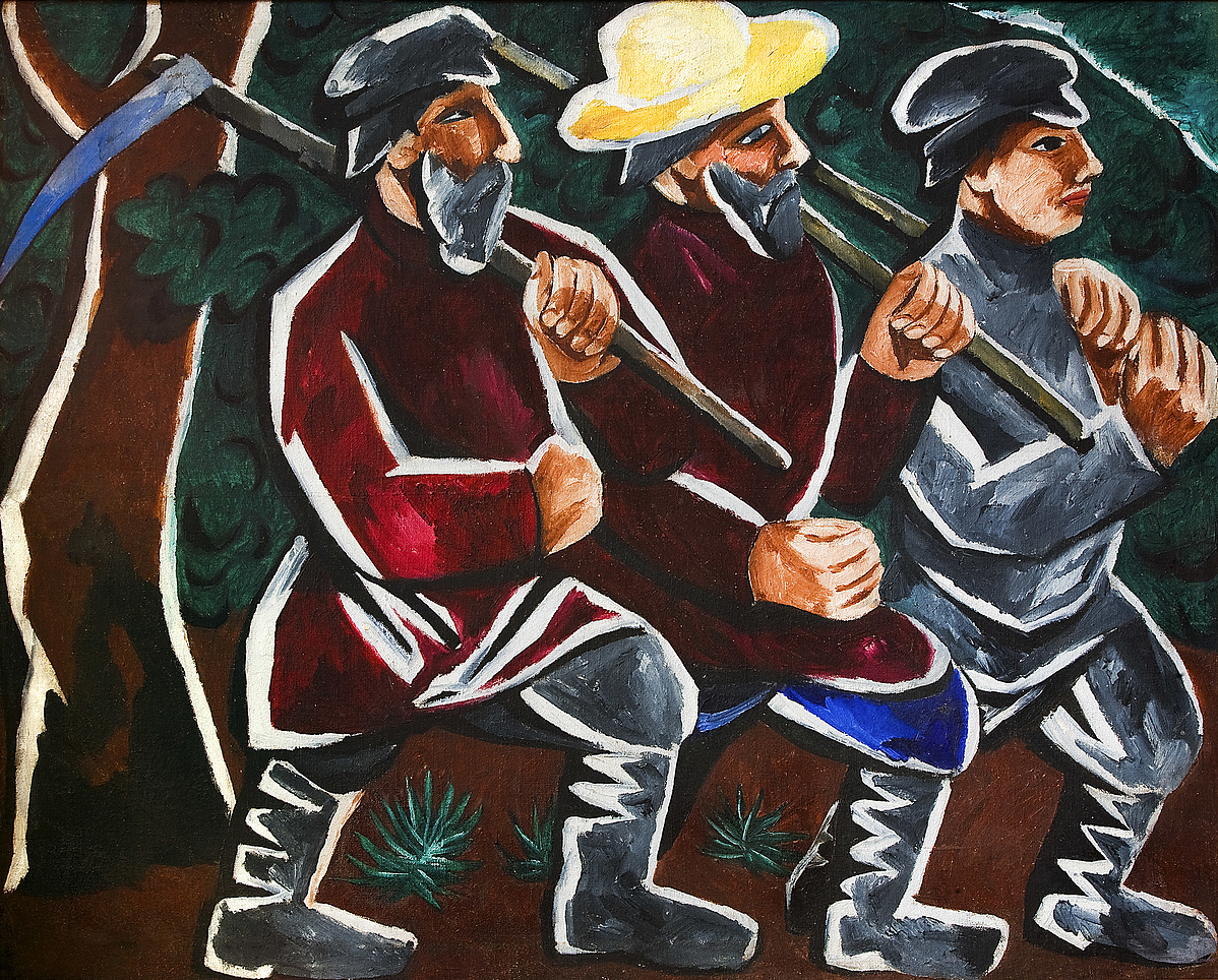 N.S. Goncsarova: Kaszálók, 1911