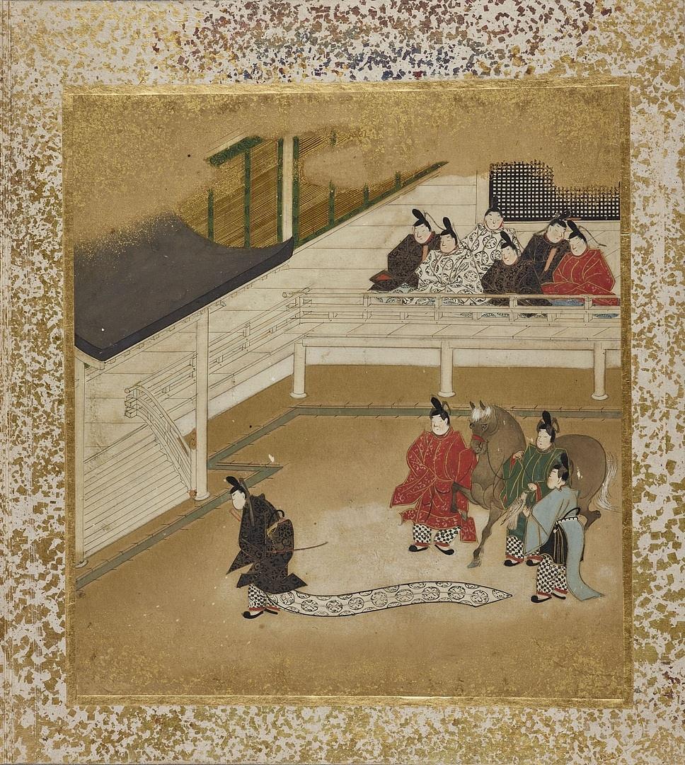 A budapesti Gendzsi monogatari album 1. lapja. Feltételezhetően Szumijosi Gukei alkotása (1670-1674 körül)