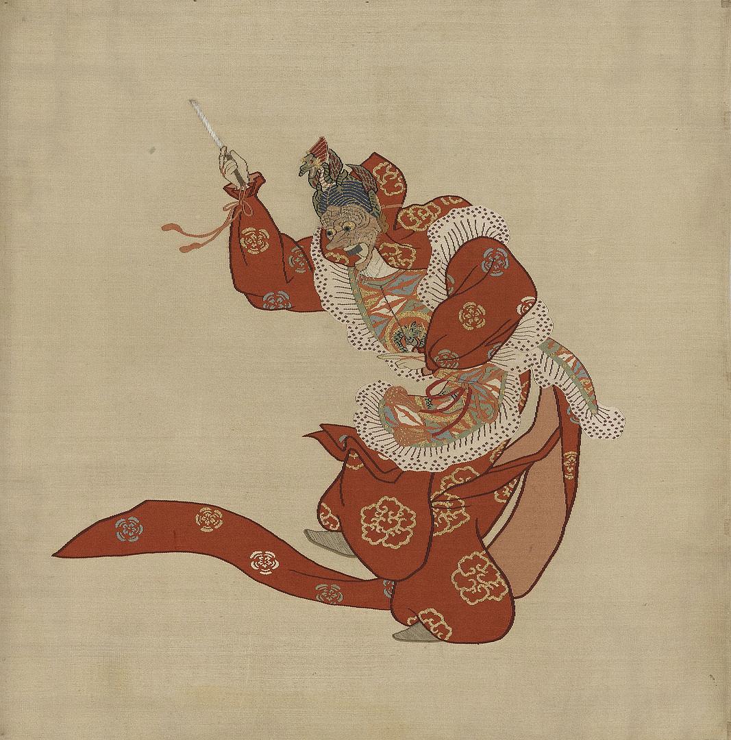 A Ranrjo-o nevű bugaku figura 1900 körülről