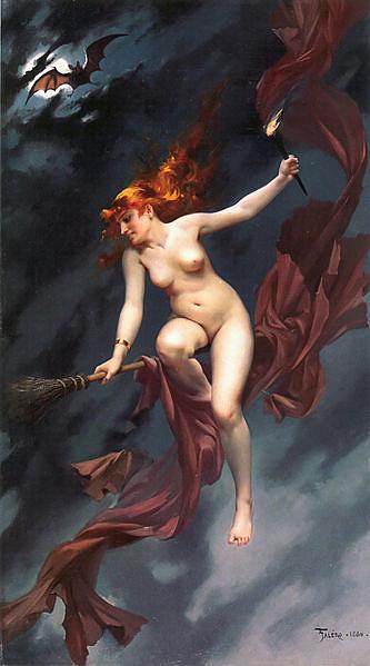Luis Ricardo Falero: The witches Sabbath (A boszorkányokat egészen az 1900-as évekig meztelenül ábrázolták.)