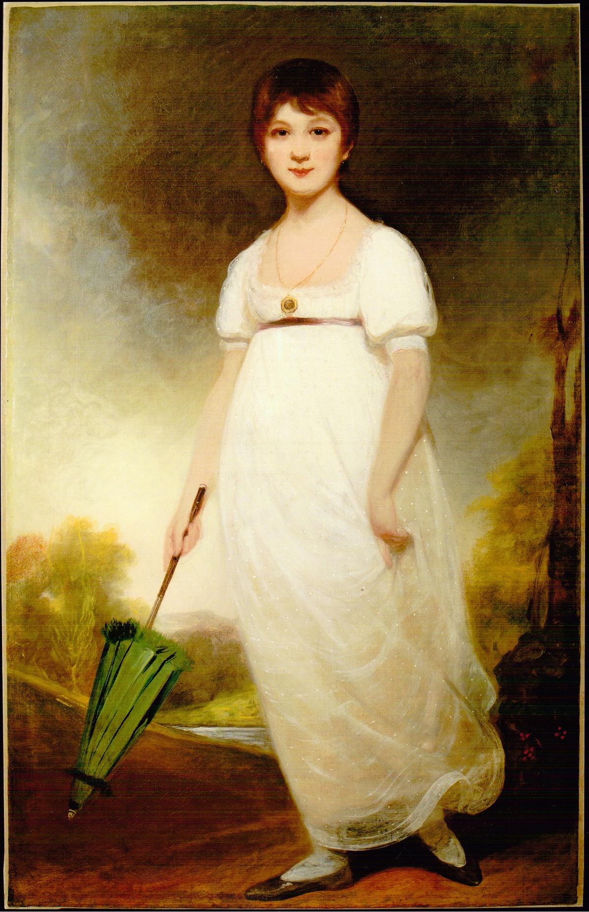 A vitákat kiváltó Rice-portré, amin állítólag a 13-14 éves Jane Austen látható. Az olajfestményen azonban sem dátum, sem szignó nem szerepel.