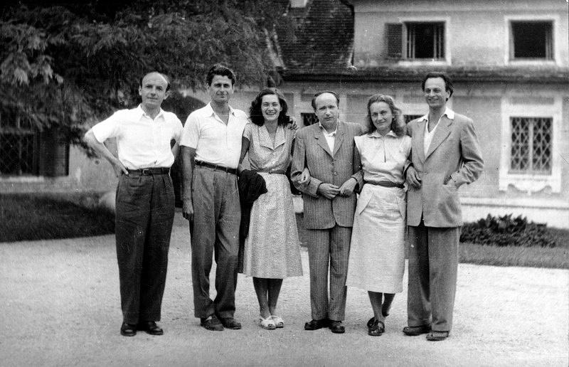 1954 július Szigliget, Kiss Tamás (1912-2003), Mészöly Miklós (1921-2001), Polcz Alaine (1922-2007), Kálnoky László (1912-1985), Nemes Nagy Ágnes (1922-1991), Lengyel Balázs (1918-2007)