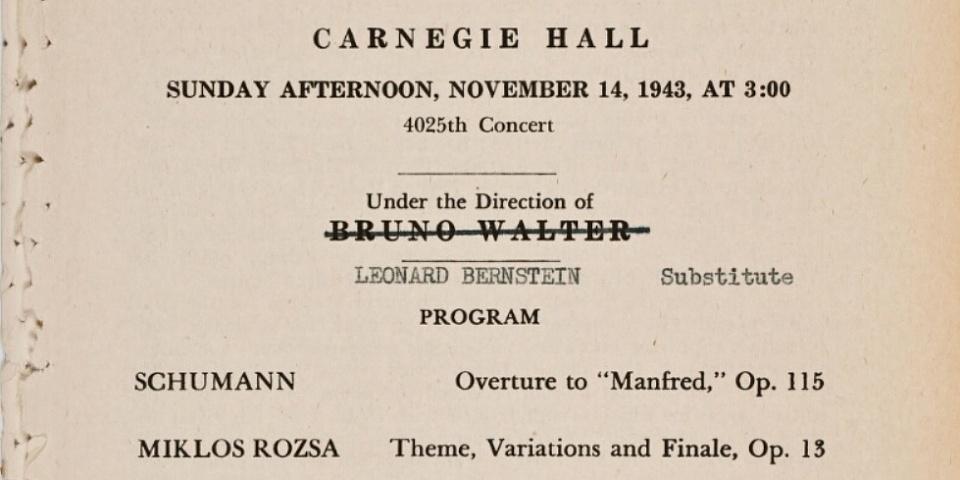 Így történt: Bernstein legendás debütálása a Carnegie Hallban