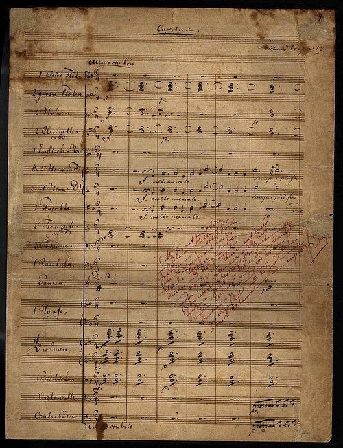 A bolygó hollandi kéziratos partitúrája