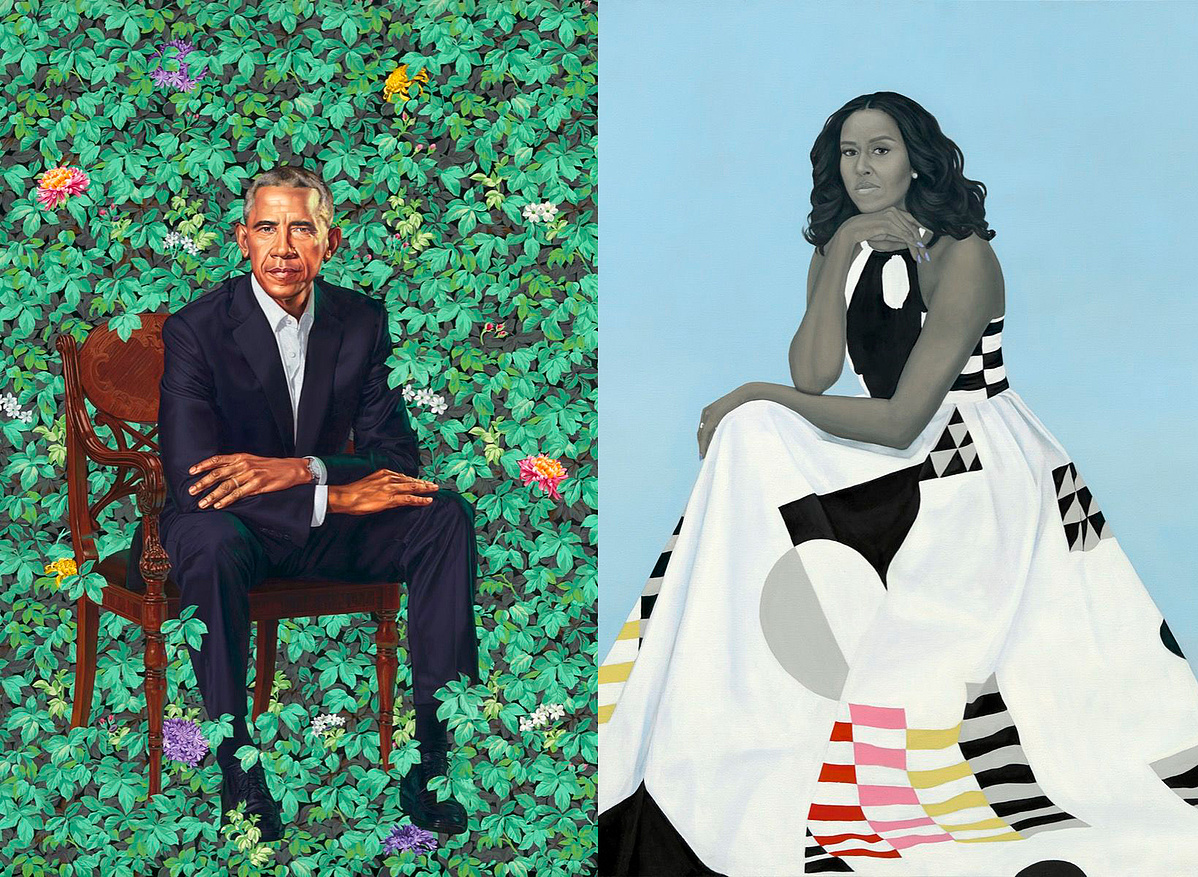 Kehinde Wiley, Barack Obama, 2018.; Amy Sherald, Michelle LaVaughn Robinson Obama, 2018.