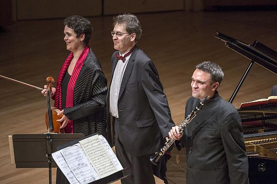 Tabea Zimmermann, Várjon Dénes és Jörg Widmann a Müpában 2014-ben
