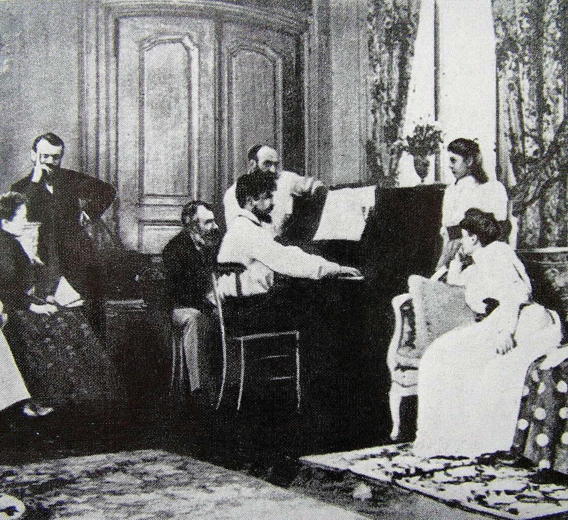 Debussy a zongoránál Ernest Chausson szalonjában, 1893.