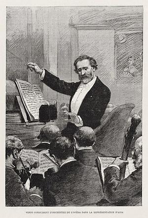 Verdi az Aida vezénylése közben 1880-ban, Párizsban