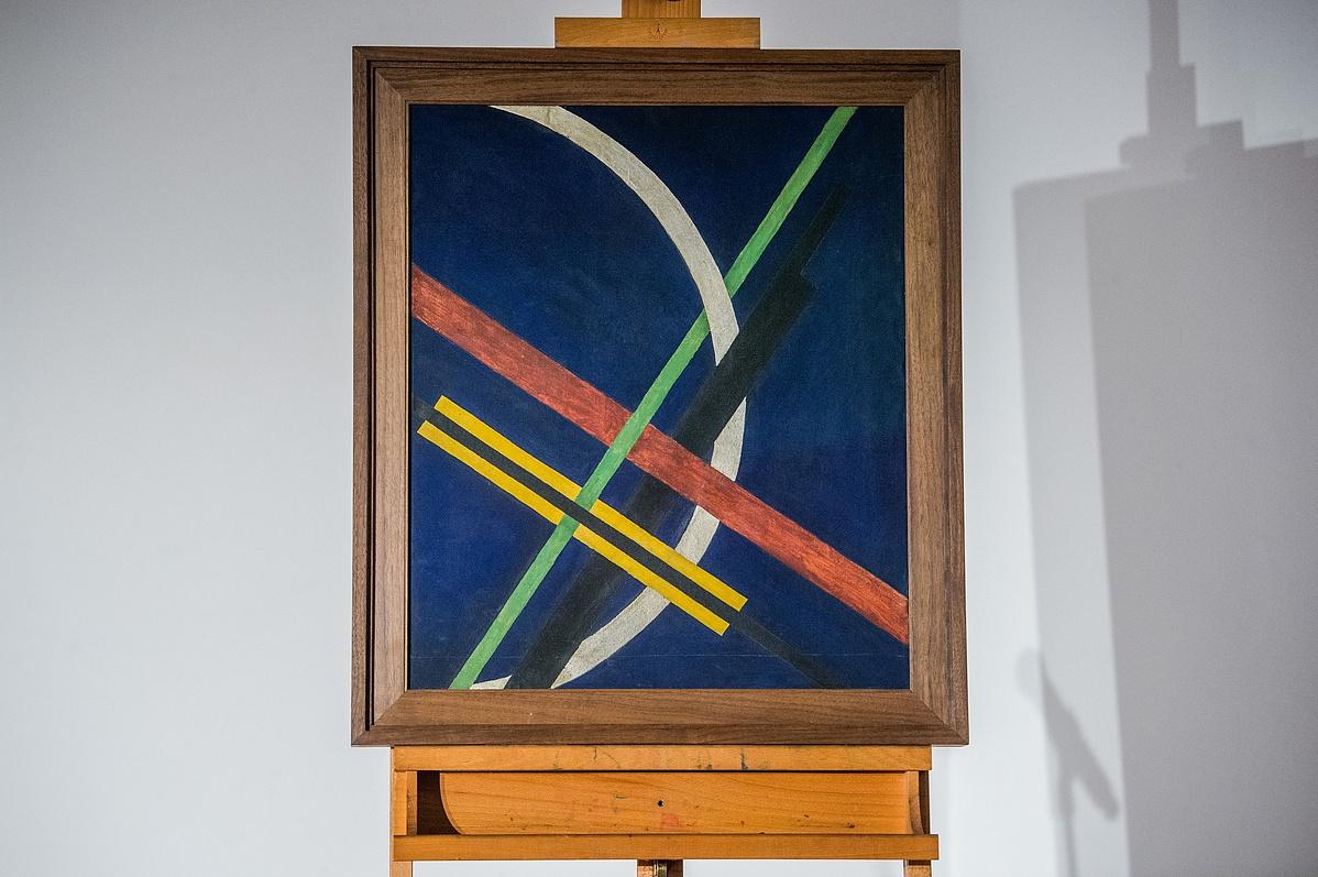 Moholy-Nagy László: Architektúra I / Konstrukció kék alapon (1922)