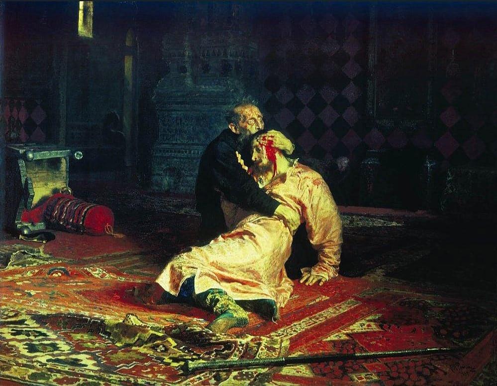 Ilja Repin: Rettegett Iván és fia, Iván 1581. november 16-án.